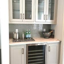 Gray Glass Tile Backsplash by White Butler Pantry With Glossy White Subway Tiles Transitional
