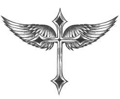 small tribal winged cross design