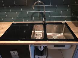 Black Glass Kitchen Sinks Brand New Kitchen Sink Pyramis Crystalon 1 5 Bowl Black Glass