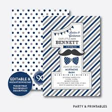 little man birthday invitations mustache navy gray chevron kids birthday invitation editable