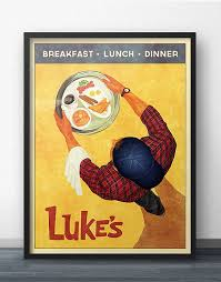 affiche cuisine retro luke s diner vintage retro style poster inspired by