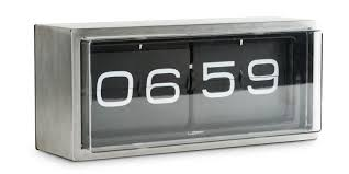 leff amsterdam brick stainless steel 24 hours wall desk clock