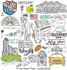 eps vector of new york doodles elements sketch new york city
