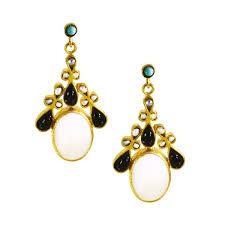 unique jewelry designers of pearl and onyx ornate festival drop earrings ottoman