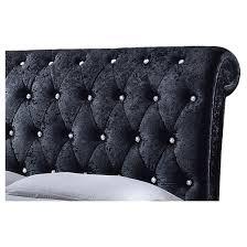 Velvet Sleigh Bed Castello Velvet Upholstered Faux Crystal Buttoned Sleigh