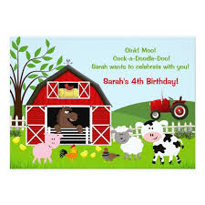 barnyard farm animals birthday invitations zazzle