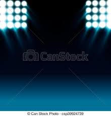 vectors of reflector lights and blue stage background reflector