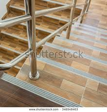 Stainless Steel Banisters Staircase Residential House Stainless Steel Banister Stock Photo