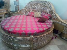 Images Of Round Bed by Stylish Round Bed Set In Solid Wood Cover With Chandi Lahore