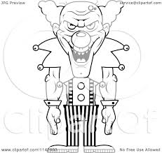 cartoon clipart of a black and white demonic clown laughing