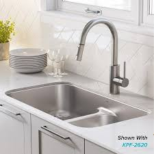 lowes white washed kitchen cabinets kraus premier undermount 32 in x 19 in stainless steel equal bowl kitchen sink