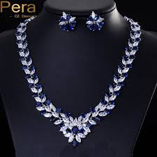 blue cubic zirconia necklace images Pera cz elegant royal stone bridal wedding accessories big jpg