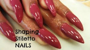 how to shape stiletto nails tutorial youtube