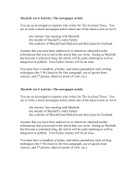 news paper writing macbeth act 4 activity the newspaper article