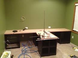 T Shaped Desk Diy Office With T Shaped Countertop And Built In Cabinets