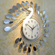 Decorative Wall Clocks For Living Room Fashion Peacock Design Silent Wall Clock Creative Craft Clocks For