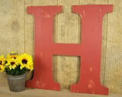 Country Home Wall Decor Wooden Letter H Etsy