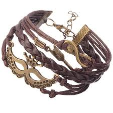 vintage multi layer braid bracelet brown bangle with mask arrow