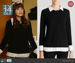 black sweater with white collar wornontv jess s black sweater and white collared shirt on