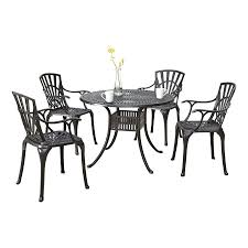 Round Table Patio Dining Sets - shop home styles largo 5 piece charcoal aluminum patio dining set