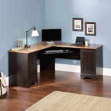 rustic lacquered white oak wood corner computer desk which slicked