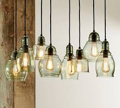 barn pendant light fixtures paxton glass 8 light pendant pottery barn