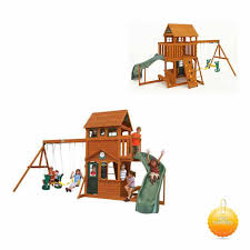 wood backyard wooden playhouse and swing set discovery prestige