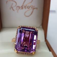 emerald amethyst rings images Diamond halo 39 d emerald cut amethyst ring in 14k rose gold jpg