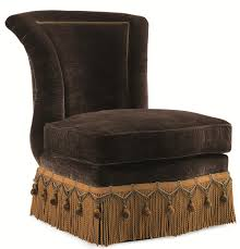 schnadig evelyn armless slipper chair with crystal bead button