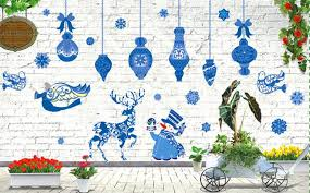 New Year Decoration For Home by Blue Christmas Decorations Window Stickers Diy Wall Decal Xmas New