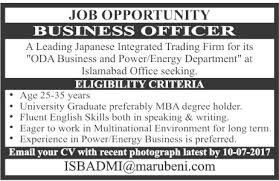 Seeking In Islamabad Sunday Newspaper Ad Business Officer In Islamabad 18 June 2017