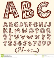 doodle folkloric ornamental alphabet with numbers