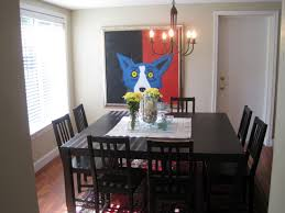 large square dining room table seats 8 painted with black color