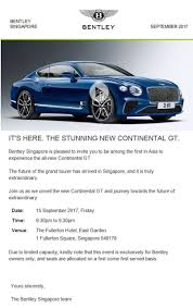 bentley singapore bentley owners club singapore invitation to bocs members to the