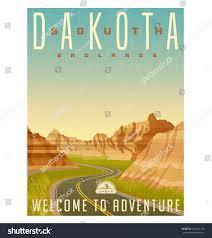 South Dakota travel mirror images Retro style travel poster sticker united stock vector 424101145 jpg