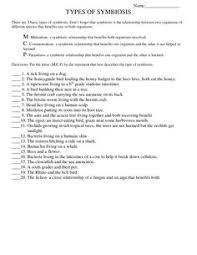 page 1 types of symbiosis worksheet doc unit 2 food webs