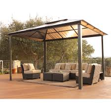 exterior appealing patio design with cream hardtop gazebo and