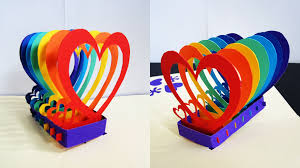 pop up card rainbow hearts learn how to make a popup heart