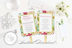 Wedding Fans Template Tropical Wedding Program Fan Template Instant Download Editable