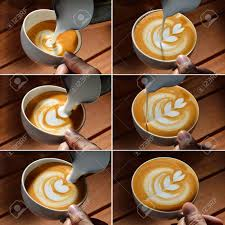 cafe latte steps of making cafe latte art tulip shape stock photo picture