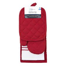 mainstays kitchen towel oven mitt and pot holder kitchen set red