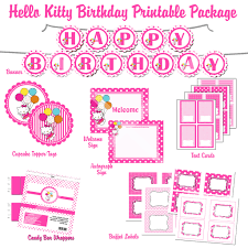 Hello Kitty Birthday Invitation Card Hello Kitty Hybrid Printable Birthday Party Package Pink