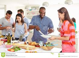 group of friends having dinner party at home stock images image