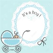 it s a boy decorations baby card its a boy theme with a baby boy in pram royalty free