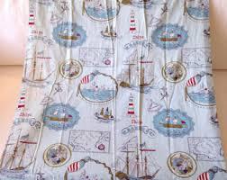 Nautical Curtain Fabric Vintage Curtain Fabric Etsy