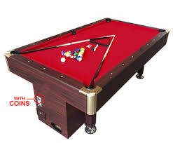 professional pool table size 7 ft pool table billiard with coin machine for public places red