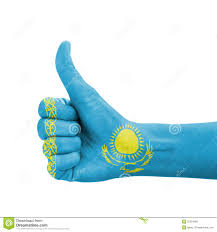Kazakhstan Flag Hand With Thumb Up Kazakhstan Flag Painted Stock Photo Image
