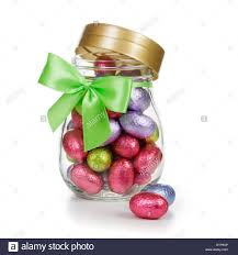 decorative eggs that open open glass jar of chocolate candy easter eggs wrapped in foil