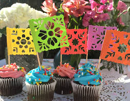 mexican papel picado cupcake toppers appetizer flags cake