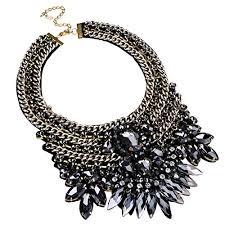 chunky crystal bib necklace images Fashion gold tone chain gray glass charm chunky choker jpg